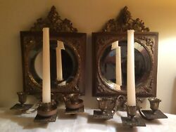 Antique Brass Beveled Glass Mirror Ornate 3 Candle Wall Sconces Matching Pair
