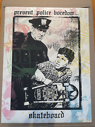 Obey Prevent Police Boredom Screen Print With Hand Stencils By Shepard Fairey