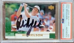 2002 Upper Deck Phil Mickelson 41 Signed Rookie Golf Card Psa Lefty Rc Hof