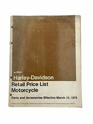 1978 Harley-davidson Amf Motorcycle Parts Accessories Retail Price List Book S2