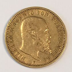 1904-f Germany Wurttemberg 10 Mark Gold Coin - High Quality Scans C997