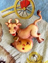Vtg Cow Jumping Over The Moon Brooch Pin Plastic Nursery Rhyme Kitsch Retro 3d