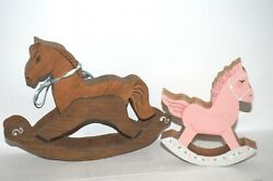 Lot Of 2 Vintage Collectibles Primitive Wooden Rocking Horse Toys Handcrafted
