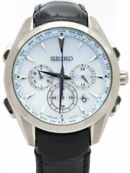Used Seiko Brightz Flight Expert Saga215 8b92-0an0 Blue Menand039s Leather From Japan