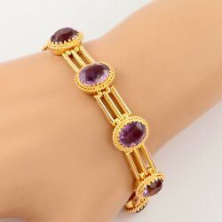 Antique Victorian 9ct Gold And Amethyst Gate Bracelet With Padlock Clasp