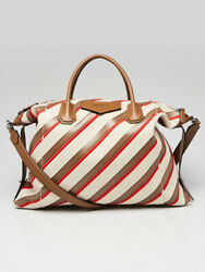 Givenchy Beige/red Canvas/leather Striped Large Antigona Soft Bag