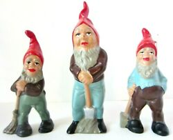 Vintage Lot Of 3 Heissner Terra Cotta Gnome-pixie-elf- 2- 5 Inches And 1- 6 Inches