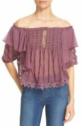 Free People Spirit In The Sky Blouse Top Embroidered Ruffle Off Shoulder Small S