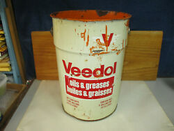 Vintage Veedol Oil And Greases Canada 5 Imperial Gallon Oil Pail Can Canada 1975