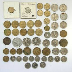 1911 - 1992 Lot Of Over 50 Old French Coins 100 Franc 5 Franc 10 Centimes And More