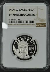 1999-w Proof Platinum Eagle 50 1/2ozt Ngc Pf70 Ultra Cameo