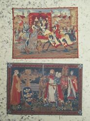 Vintage - 16th Or 12th Scale - Medieval Wall Hangings X 2 - Printed Fabric