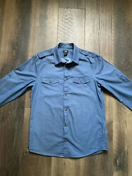 Handm Button-up Shirt Navy Blue Menand039s Size Small