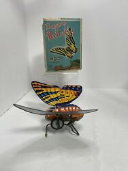 Antique Tin Wind Up Happing Butterfly No. 2 Kanto Toys Japan Works Great