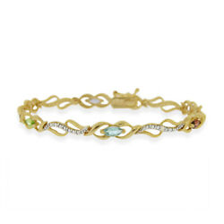 18k Gold Over Sterling Silver Multi Gemstone And Diamond Accent Infinity Bracelet