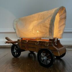 Vintage Wooden Covered Wagon Table Lamp Decorative Western Americana Rare Tested