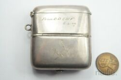 Antique English Masonic Silver Combined Vesta And Sovereign Coin Case C1903