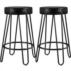Set Of 2 Round Bar Stools Backless Dining Chairs Counter Stoolssleek Metal Legs