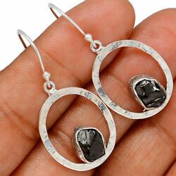 Hammered Design - Russian Shungite Sterling Silver Earring Jewelry Be36925 Xgb