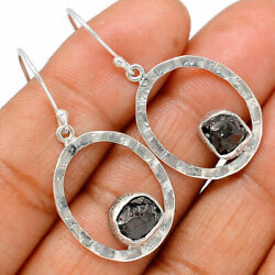 Hammered Design - Russian Shungite 925 Silver Earring Jewelry Be36977 Xgb