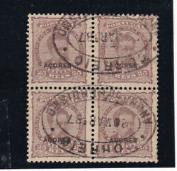 Azores 1887 Sc 62,optd Stamps,block Of Four,top Left One Teared  S2170