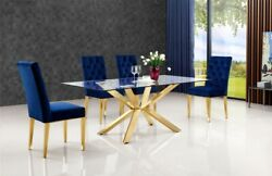 6pc Navy Velvet Dining Chair Rich Gold Tone Slanted Back Dining Room Furniture