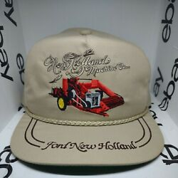 Vintage 90s K Brand Ford New Holland Farming Tractor Strapback Rope Hat Un-worn