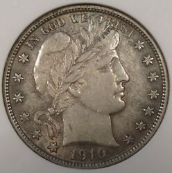 1910-s Barber Half Dollar 50c Anacs Certified Au50 Old Small Holder