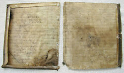 Manuscript On Parchment Cover Of An Antique Jewish Book, 16th-17th Cen. 2 Pages