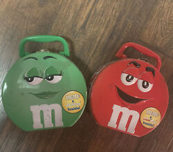 2001 Vintage Red And Green Mandms Tin Lunch Boxes Collectibles Used Free Shipping