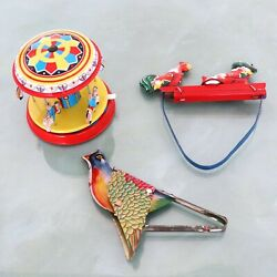 Tin Toy Toys Vintage Lot Of 3 Pecking Chickens Flying Singing Bird Carousel Top