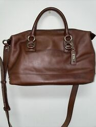 COLEHAANBrown Leather Duffle Crossbody Style Bag Gold Hardware $30.00