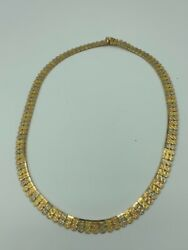 """Solid 18k Tricolor Yellow Rose White Gold Cleopatra Necklace 38.2g 18"""""""