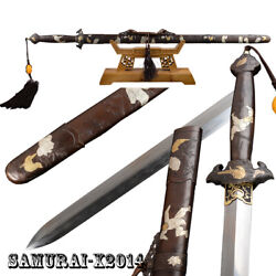 Clay Tempered Folded Steel Chinese Sword Qing Dynasty Jian Brass Fittings Sharp