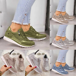 Womens Zipper Laces Platform Sneakers Running Thick Sole Outdoor Increased Shoe