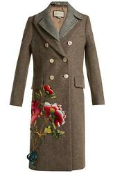 Sequin Embellished Double Breasted Wool Coat It 44 Uk 12