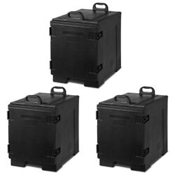 Costway 3 Pack End-loading Insulated Food Pan Carrier And Cold 5 Pan W/handle