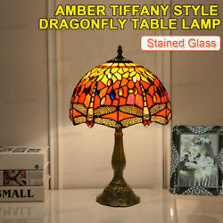Style Red Multi Color Stained Glass Dragonfly Table Lamp Shade 19x12