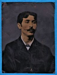 Vintage X Large Tinted Tintype Photo Handsome Man Ferrotype Ca 1880 Moustache