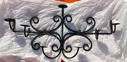 Vintage Wrought Iron Hand Made Heavy Large Wall Mount Candelabra Candle Holder
