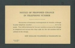 1928 New England Telephone And Telegraph Co Advises Change Of Phone Number