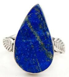 Leaf Lapis Lazuli -afghanistan 925 Sterling Silver Ring Jewelry Sz 7 Ed27-2