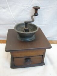 Early Signed Pewter Top Coffee Lap Grinder Burr Mill Tool Dovetailed Box Sidgway