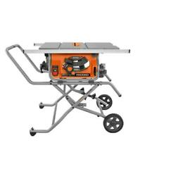 Portable Table Saw With Stand Ridgid 10 In. Jobsite Contractor Folding W/ Wheels