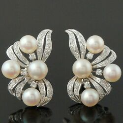 Solid 14k White Gold, Pearl And .66 Ctw Diamond Estate Filigree Ribbon Earrings