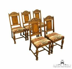 Set Of 5 Antique Vintage English Revival Gothic Jacobean Style Dining Side Ch...