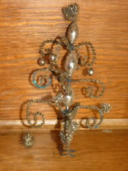 Antique Christmas Wire Wrapped Mercury Glass Bead Tree Topper Decoration 9-1/2