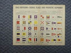 Vintage Us Navy Special Flags And Phonetic Alphabet Poster, 1943