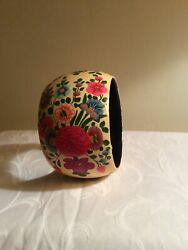 Vintage From 80's Wooden Hand Painted Lacquered Floral Design Cuff Bracelet 2quot;