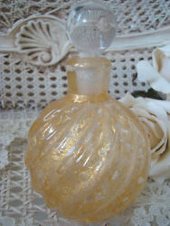 Magnificent Gold Murano Glass Perfume Bottle From Italy 1 Beautiful
